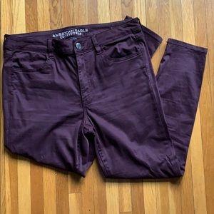 Super stretchy Deep Plum AEO hi-rise Skinny Jeans
